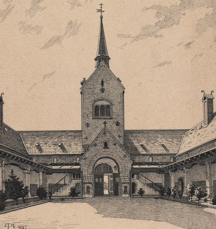 Nordre Kapel. Tegning af Joseph Theodor Hansen (Det Kgl. Bibliotek)