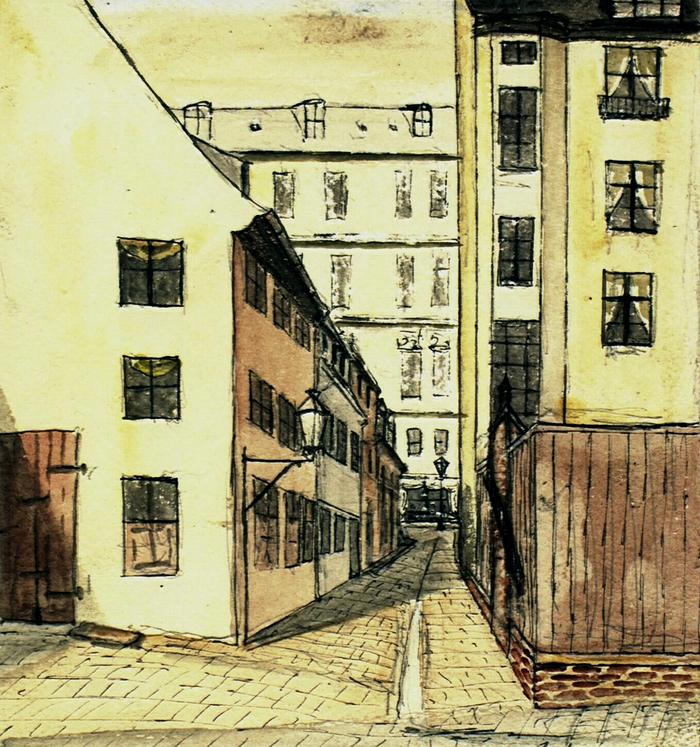 Pistolstræde. Akvarel af Ludvig Frederik Both. 1884 (Det Kgl. Bibliotek)