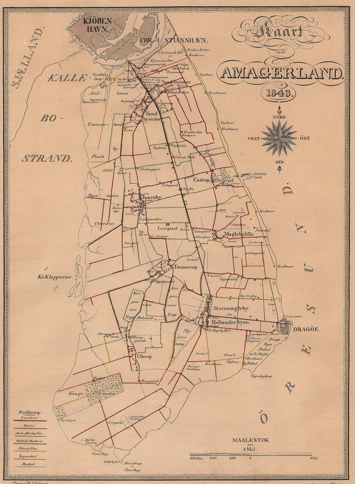 Kort over Amager, 1843. Amager Landevej er den tydelige, lodrette streg midt gennem kortet,