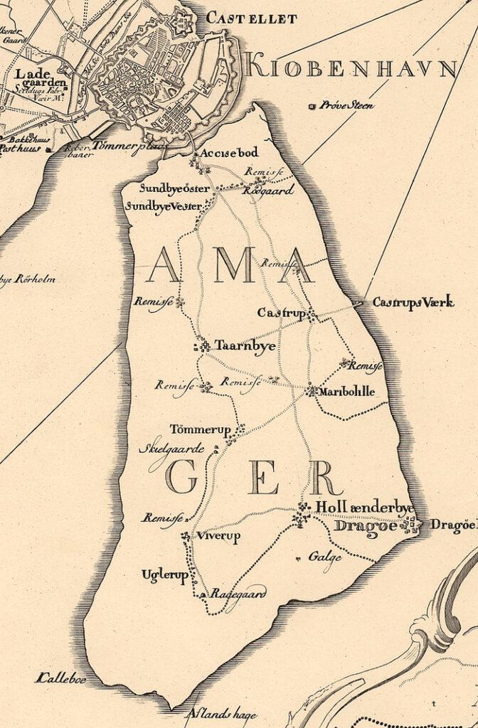 Udsnit af Videnskabernes Selskabs kort over København og omegn, 1766.
