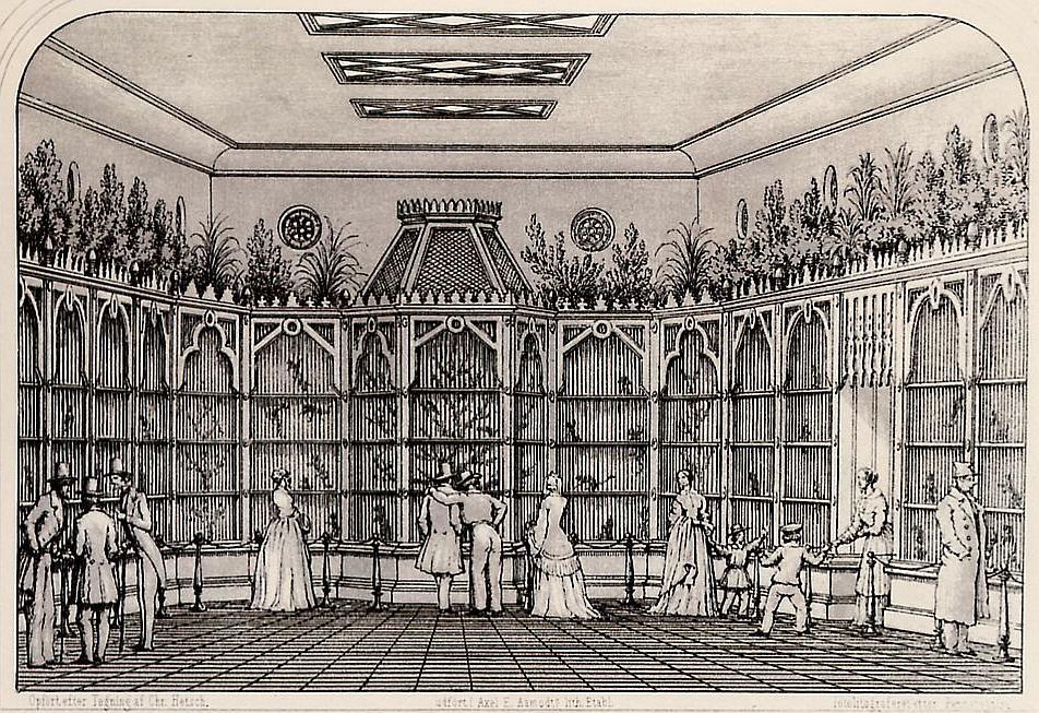 Abehuset Zoologisk Have. Tegning Chr. Hetsch 1879