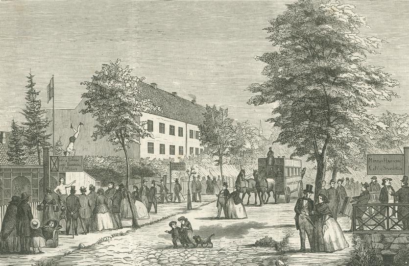En søndag i Allégaden på Frederiksberg. Tegning af Chr. Deichmann (Illustreret Tidende 1861-62).