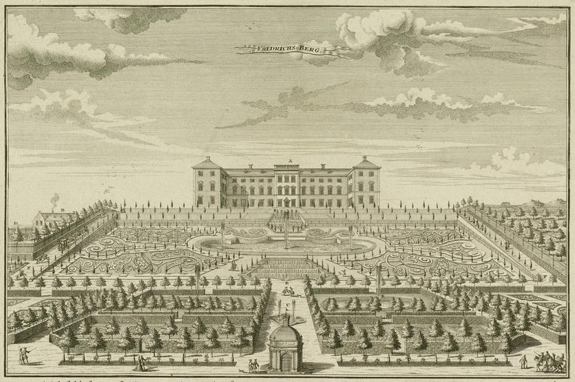Friederichs-Berg. Tegning af Christopher Marselius. 1728 (Det Kgl. Bibliotek)