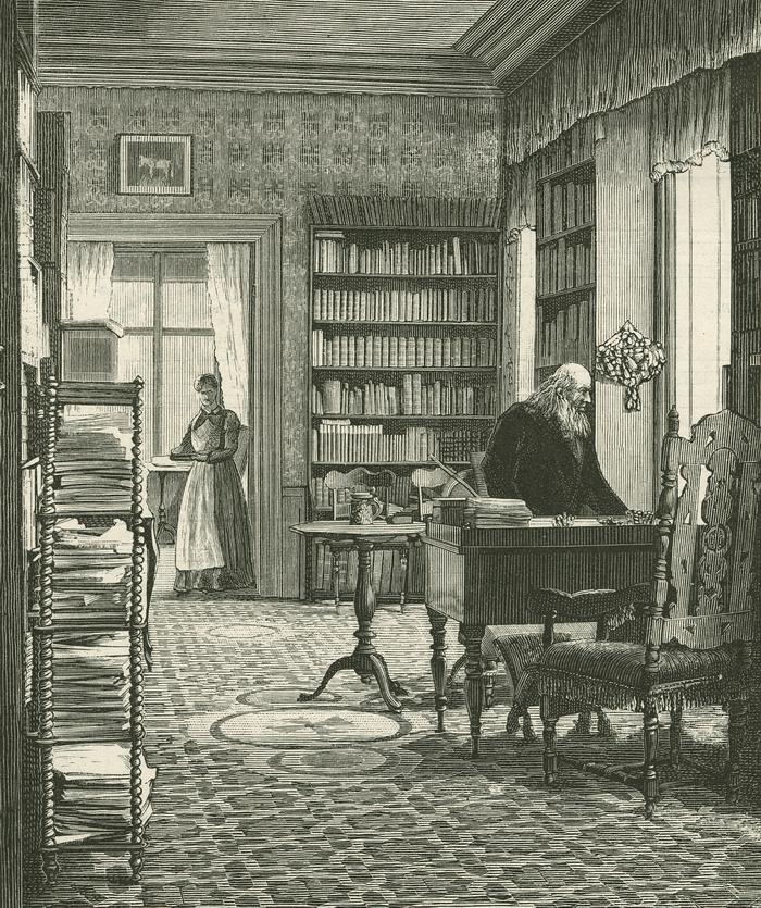 Grundtvig i sit arbejdsværelse på Store Tuborg. Ilustreret Tidende 1882-1882