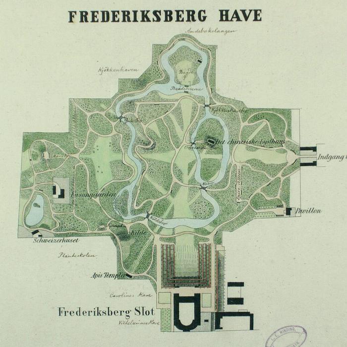 Kort over Frederiksberg slot og park. 1846 (Det Kgl. Bibliotek)