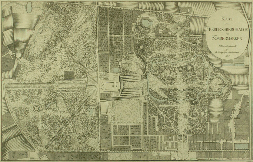 Kort over Frederiksberghauge og Søndermarken. Litografi af Carl Frederik Henckel 1814 (Det Kgl. Bibliotek).