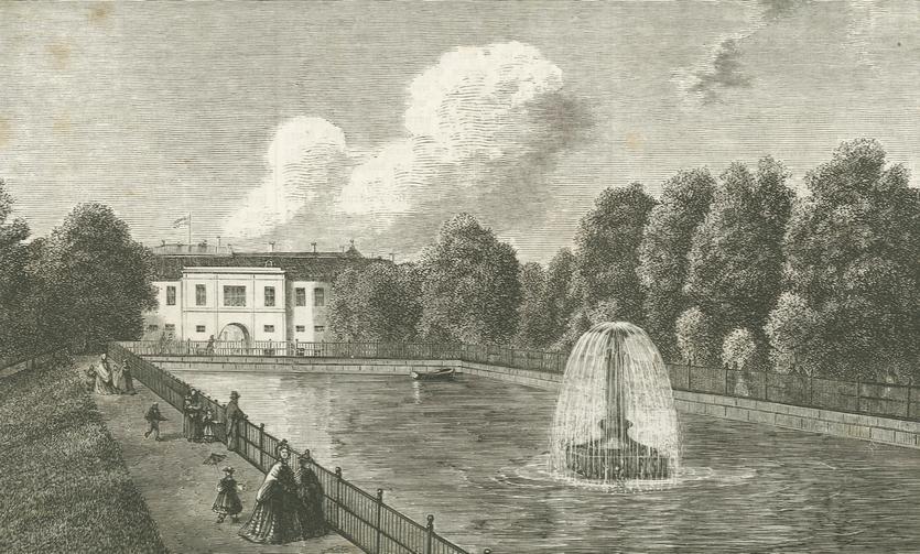 Reservoiret i Søndermarken - tegning af Emil Lippert (Illustreret Tidende 1864-64)