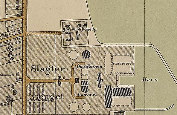 Udsnit af Kort over Kjøbenhavn med nærmeste omegn 1879. Udført af V. F. A. Berggreen. (Det Kgl. Bibliotek)