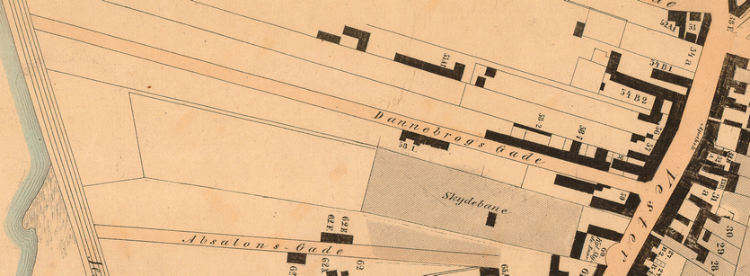 Udsnit af kort over Vesterbro m.m. 1858 - Udarbejdet af Thor Brandt (Københavns Stadsarkiv). Endnu er der kun bebyggelse i gadens nordlige ende mod Vesterbrogade.