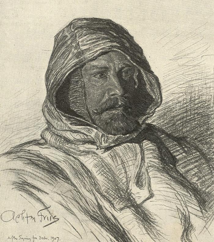 J. P. Koch. Tegning udført af Achton Friis 1907 (Det Kgl. Bibliotek)