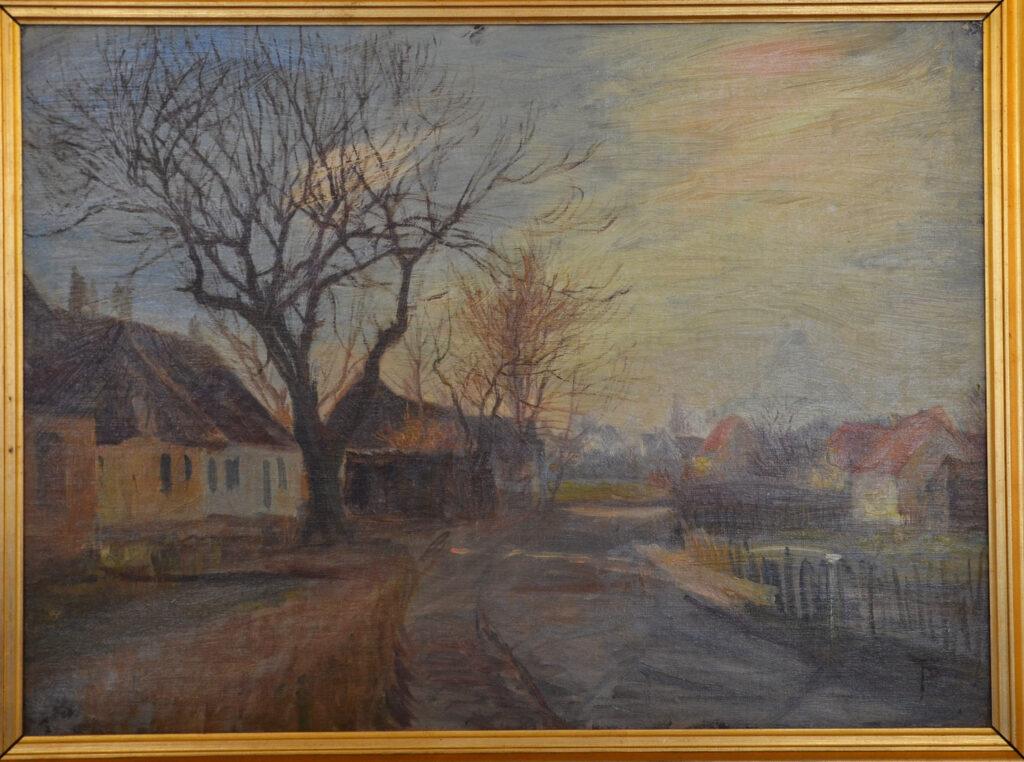 Theodor Phillipsen - Vej gennem Kastrup. Ved Stationen - 1903 - Tilhører Tårnby Kommune (Kastrupgårdsamlingen)