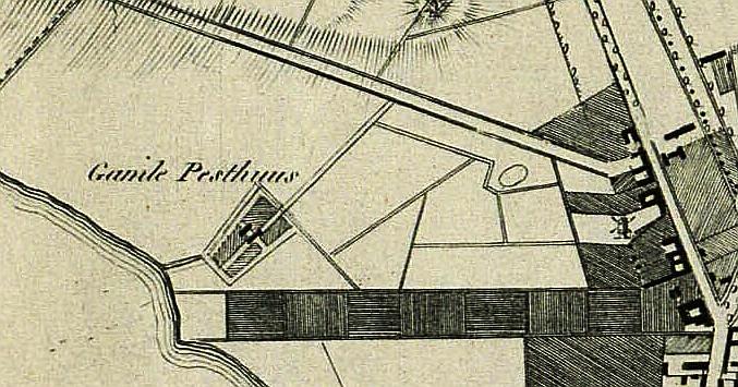 Udsnit af Grundtegning af den Kongelige Residence og Hovedstad Kiöbenhavn med omliggende Egn 1817. Søkortarkivet. (Det Kgl. Bibliotek).