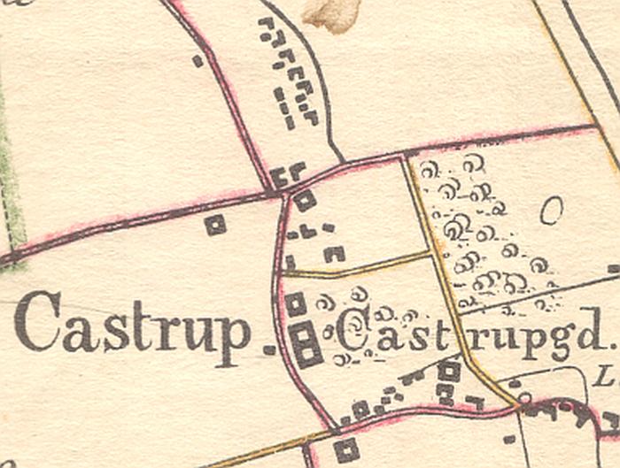 Udsnit af Kaart over Amagerland, 1843. I midten, øverst, ses rækken af huse langs Nordmarksvej.