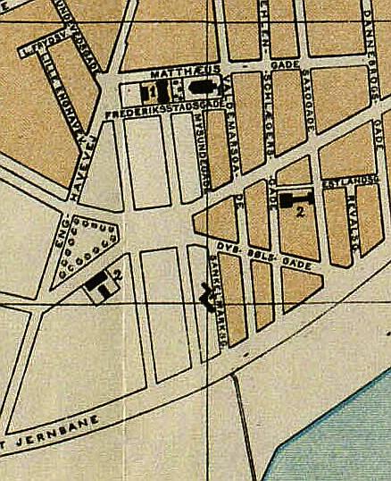 Udsnit af Kort over Kjøbenhavn og Frederiksberg. Udført af V. F. A. Berggreen m.fl. 1894. (Det Kgl. Bibliotek)