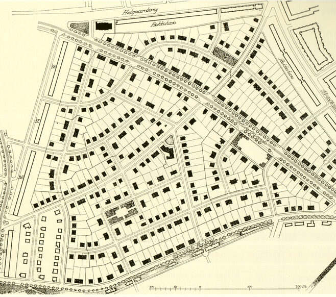Grøndalsvænge - bebyggelsesplan (Fra: København (1942))