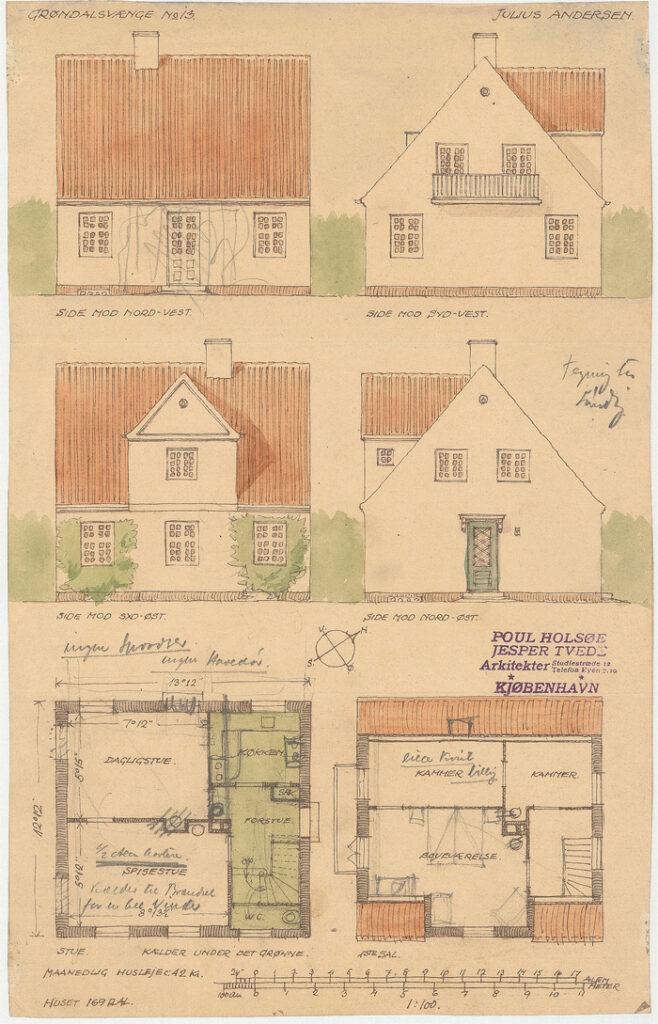 Tegning til hus i Grøndalsvænge af Poul Holsøe og Jesper Tvede (Danmarks Kunstbibliotek)