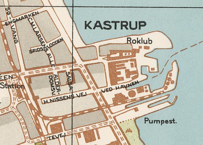 Udsnit af Blochs kort over Amager 1945.