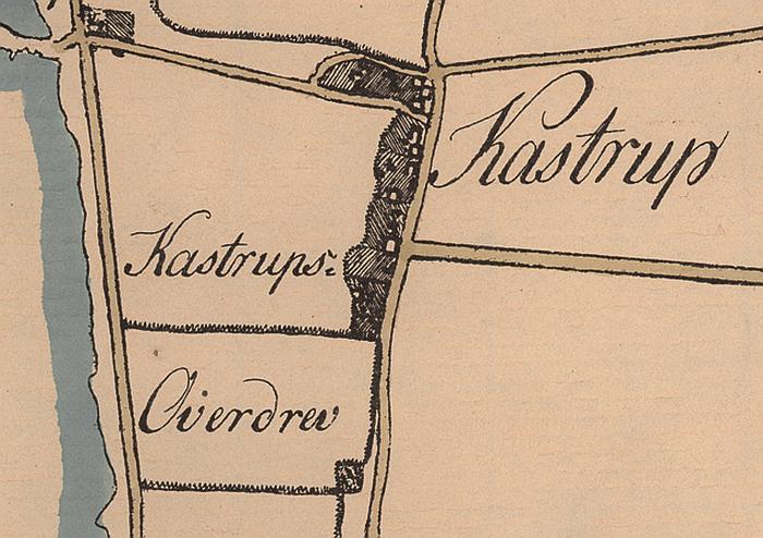 Udsnit af Fr Bülows kort over Amager 1794. Gårdene ligger i række langs Kastrupvejs østside.