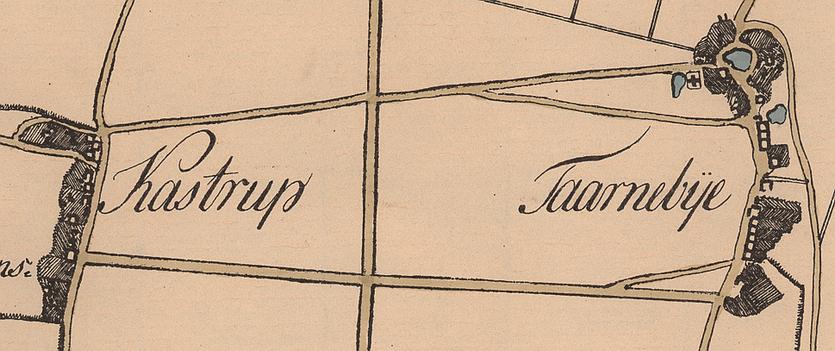 Udsnit af Fr Bülows kort over Amager 1794