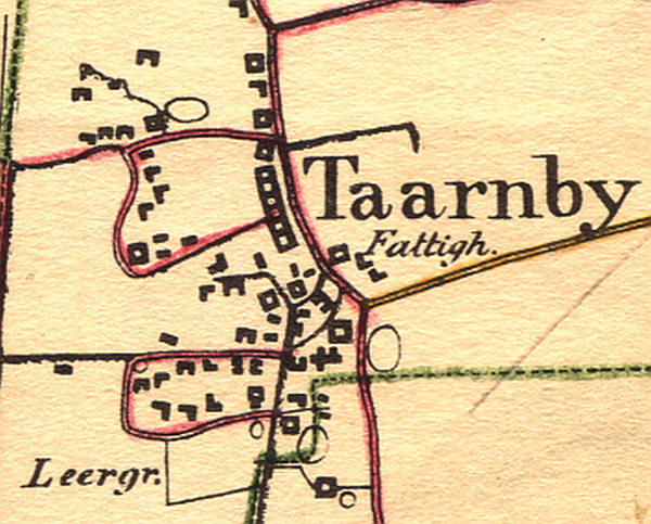 Udsnit af Kaart over Amagerland 1843. Lergravene er nævnt i kortets nederste venstre hjørne.