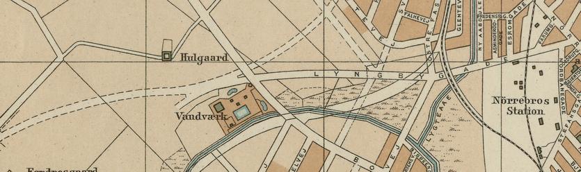 Udsnit af Kort over København. Udarbejdet af Axel E. Aamodt 1914 (Original i Københavns Stadsarkiv). Til venstre ses den projekterede forlængelse af Hillerødgade.