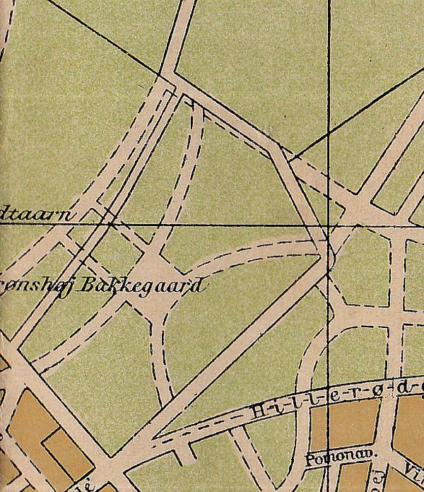 Udsnit af Nyeste kort over København. Axel Andersens Forlag. Ca. 1915