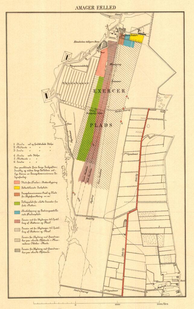 Kort over Amager Fælled ca. 189 med eksercerplads og skydebaner (Københavns Stadsarkiv)