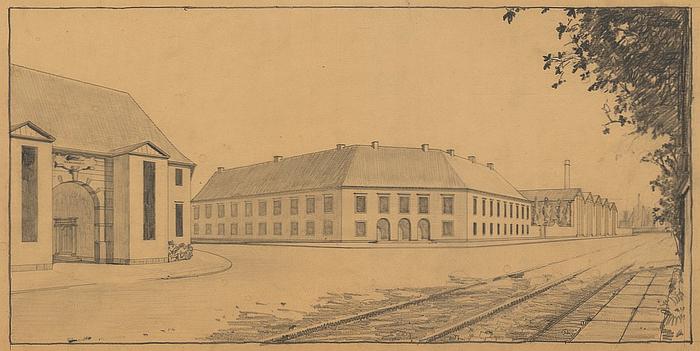 Københavns Flydedok - kontorbygning ved Scandiagade (Danmarks Kunstbibliotek)