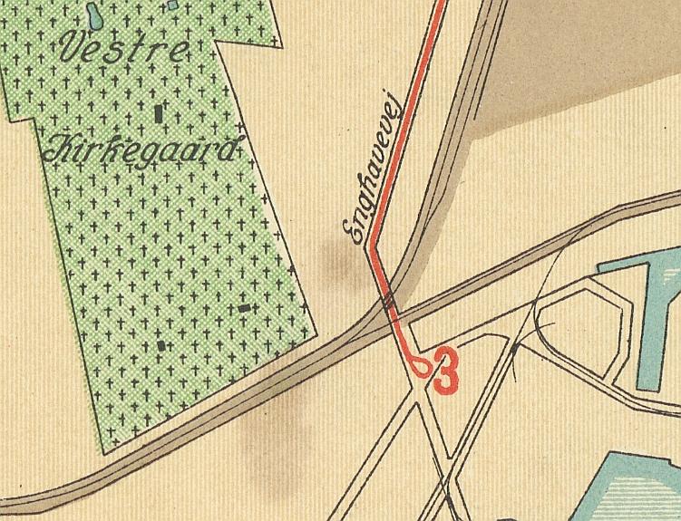 Udsnit af Kort over København og Frederiksberg med sporveje 1928 (Københavns Stadsarkiv)