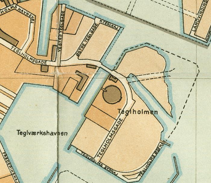 Udsnit af kort over København 1929 (Fra Trap Danmark 4. udgave)