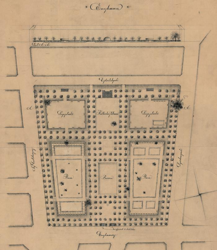Enghaveparken - oprindelig plan 1928-29 (Københavns Stadsarkiv)