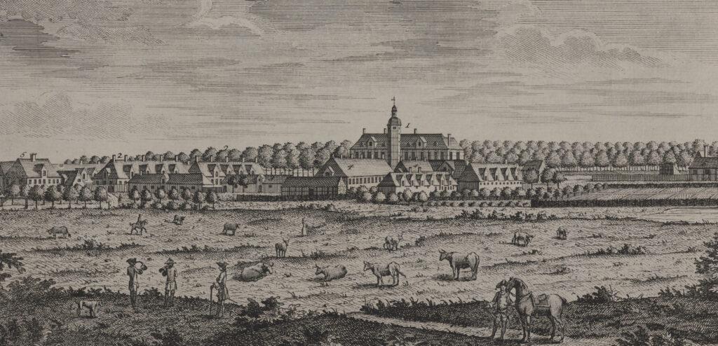 Jægersborg Slot. Kobberstik af Johan Jacob Bruun, 1756 (Det Kgl. Bibliotek)