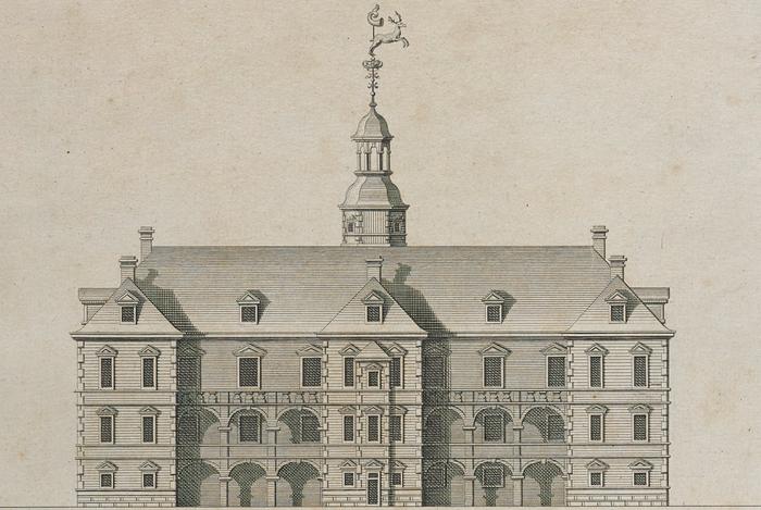 Jægersborg Slot. Kobberstik, udateret (Det Kgl. Bibliotek)