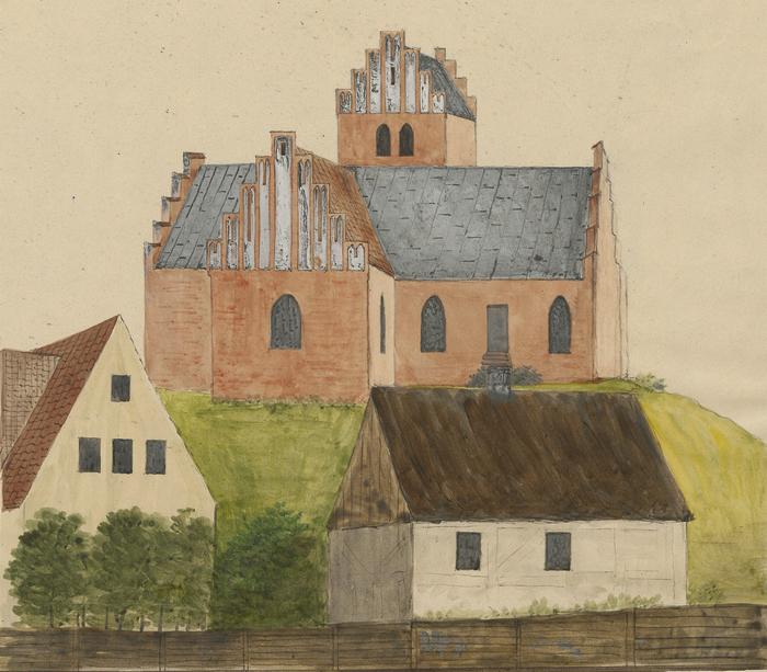 Lyngby Kirke. Akvarel af I. G. Burman Becker. Udateret (Det Kgl. Bibliotek)